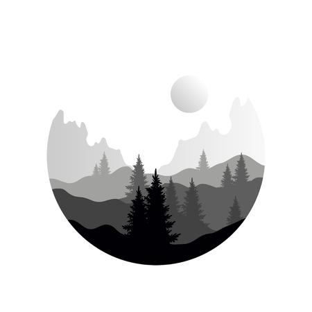 針葉樹の木や山々のシルエット、幾何学的な円形のデザインの自然なシーンアイコン、黒と白の色のベクトルイラスト、フラットスタイルで美しい