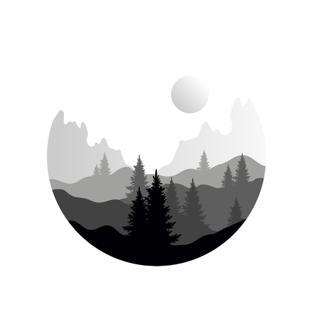 Beautiful nature landscape with silhouettes of coniferous trees and mountains, natural scene icon in geometric round shaped design, vector illustration in black and white colors, flat style Иллюстрация