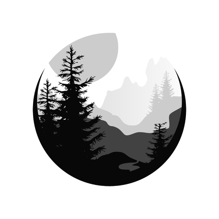 Beautiful nature landscape with silhouettes of coniferous trees, sunset of big sun, natural scene icon in geometric round shaped design, vector illustration in black and white colors Ilustração