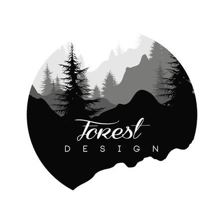 Forest logo design, nature landscape with silhouettes of trees and mountains, natural scene icon in geometric round shaped design, vector illustration in black and white colors