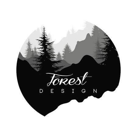 Projekt logo lasu, krajobraz przyrody z sylwetkami drzew i gór, ikona naturalnej sceny w geometrycznym okrągłym kształcie, ilustracja wektorowa w czarno-białych kolorach Logo