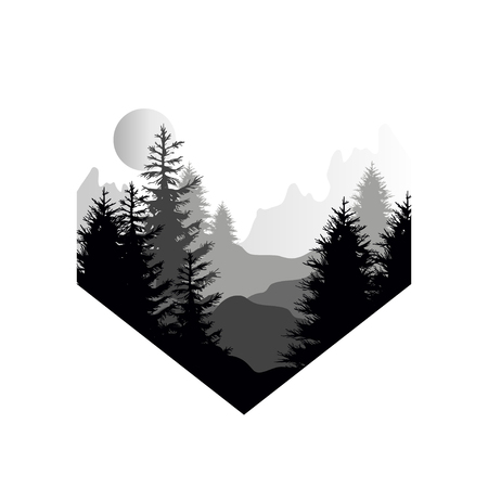 Piękny krajobraz przyrody z sylwetką lasu iglastego, gór i słońca, ikona naturalnej sceny w geometrycznym kształcie, ilustracja wektorowa w czarno-białych kolorach