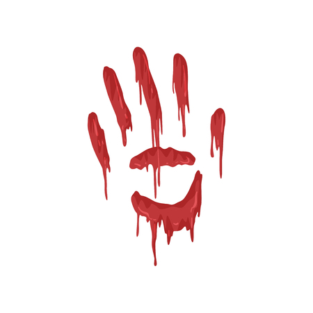 Bloody handprint with streaks vector Illustration on a white background Ilustração