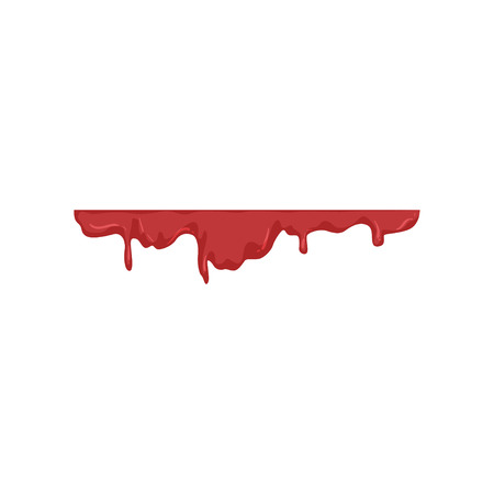 Blood dripping, red liquid trail vector Illustration on a white background