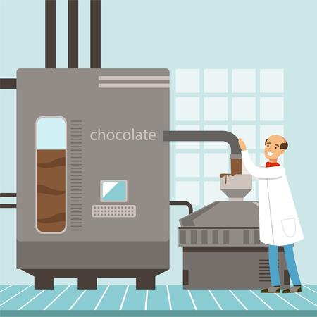 チョコレートの製造のための機械、製造プロセスベクトルを制御する菓子図