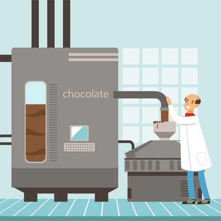 Machine for the production of chocolate, confectioner controlling the production process vector Illustration