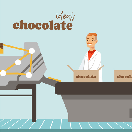 Man packing boxes of chocolate on factory conveyor, male controller controlling the production process vector Illustration, web design Foto de archivo - 95821140