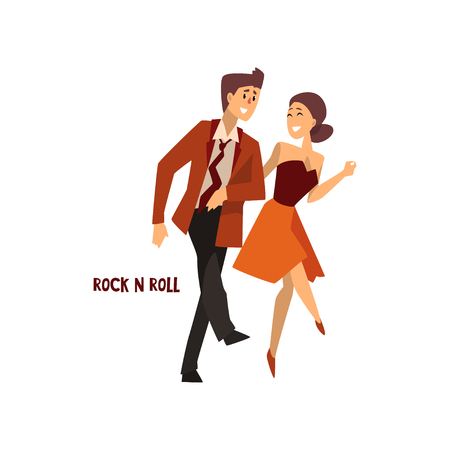 Professional dancer couple dancing rock and roll, pair of young man and woman dressed in elegant clothing performing dance vector Illustration on a white background