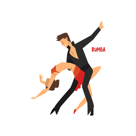 Professional dancer couple dancing rumba, pair of young man and woman dressed in elegant clothing performing dance vector Illustration on a white background