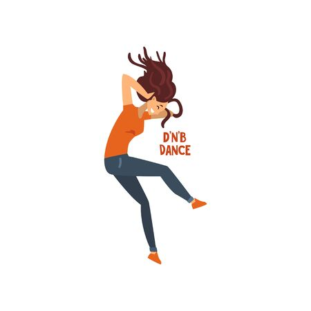 Girl dancing drum and bass dance vector Illustration on a white background