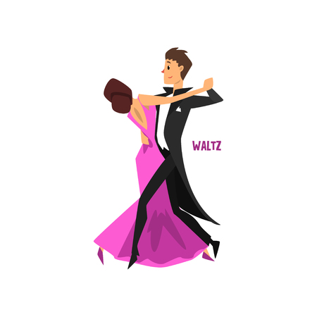 Professional dancer couple dancing waltz vector Illustration on a white background Vettoriali
