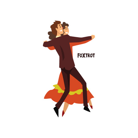 Professional dancer couple dancing foxtrot vector Illustration on a white background
