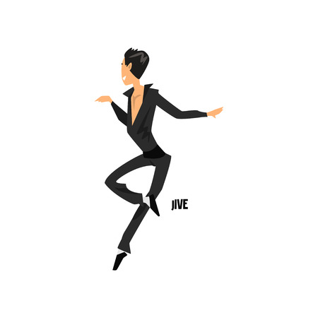 Young man dancing jive dance vector Illustration on a white background