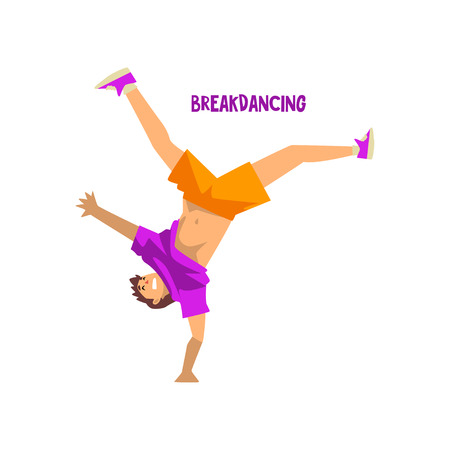 Young man dancing doing handstand vector Illustration on a white background