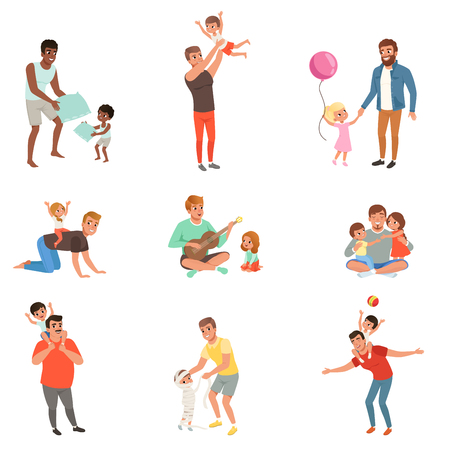 Fathers playing, having fun together and enjoying good quality time with their little children set