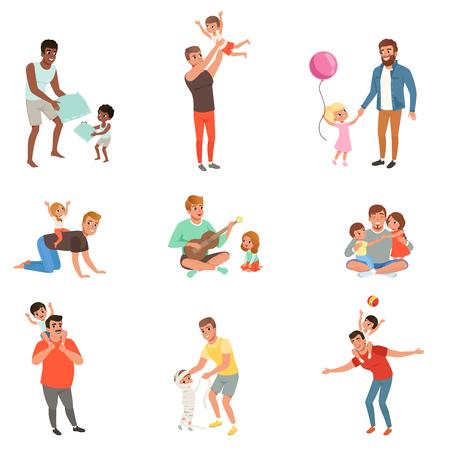 Ojcowie bawią się, bawią razem i cieszą się dobrą zabawą ze swoimi małymi dziećmi