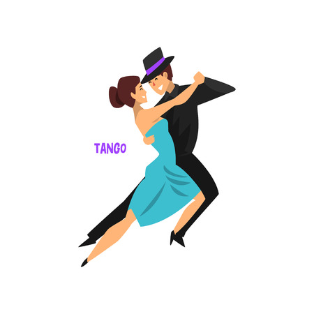 Professional dancer couple dancing tango vector Illustration on a white background