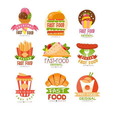 Fast food set vector Illustrations Vettoriali