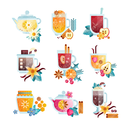Hot drinks with fruits, berries, spices and herbs set. Illustration