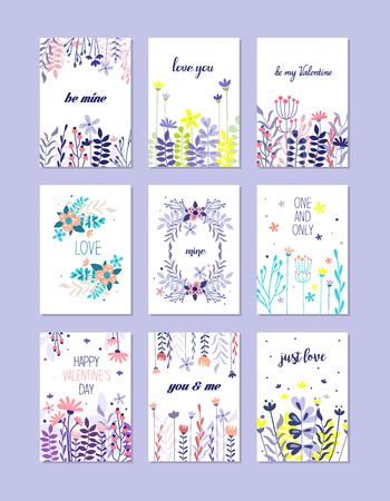 Romantic greeting cards set Ilustrace