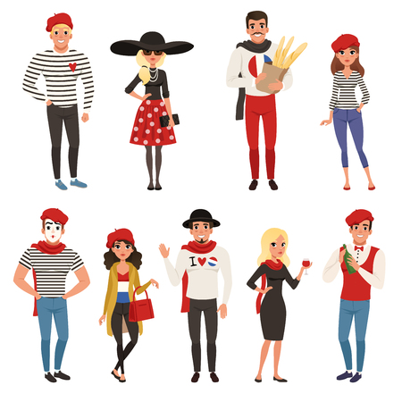 French male and female characters. People dressed in traditional Parisian style vector Illustrations