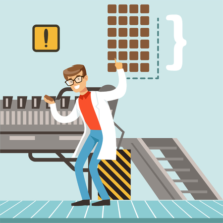 Chocolate factory production line. Male controlling the production process vector Illustration Ilustracja