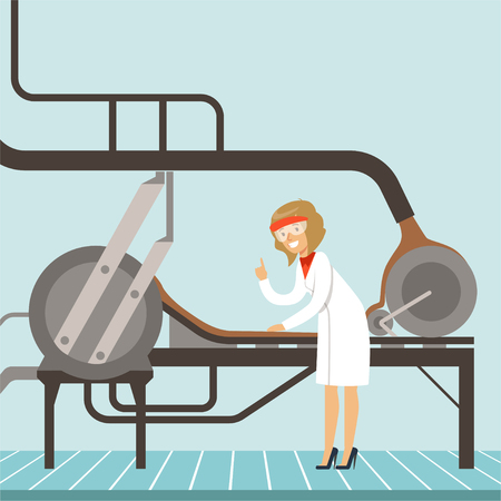 Chocolate factory production line, female controlling the production process