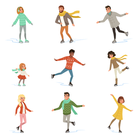 Ice skating people set, winter activities vector Illustrations isolated on a white background. Imagens - 95902145