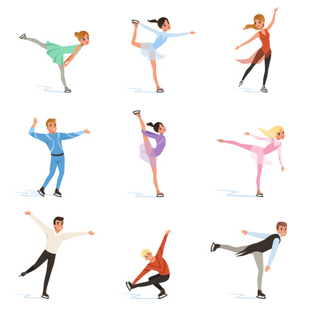 Figure skating set, professional athletes skating in motion on ice vector Illustrations isolated on a white background.