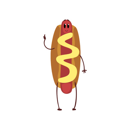 Funny hotdog showing thumb up, humanized fast food character with mustard vector Illustration