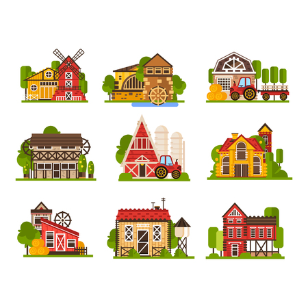 Farm buildings set, agriculture industry and countryside constructions vector Illustrations on a white background Illustration