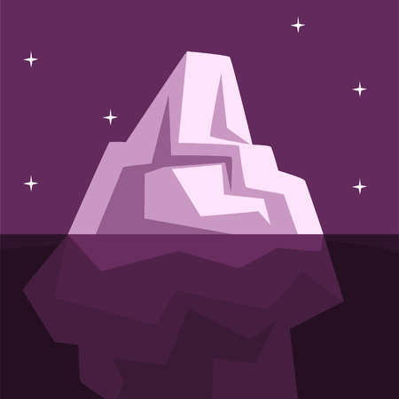Iceberg over and under the water, Antarctic iceberg floating vector Illustration on a purple background