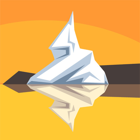Iceberg with visible underwater surface vector Illustration on an orange background