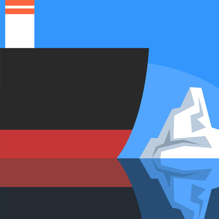 Ship and iceberg, ship travel to north pole vector Illustration on an orange background