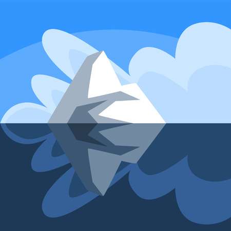 Antarctic iceberg floating, iceberg over and under the water, vector Illustration on a blue background