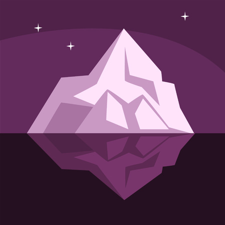 Iceberg with visible underwater surface, Antarctic iceberg floating vector Illustration on a purple background