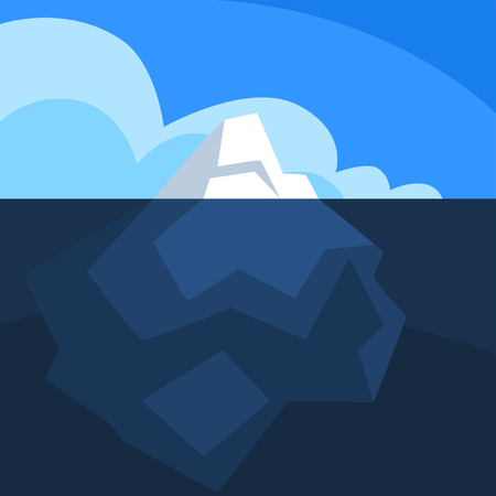 Iceberg with visible underwater surface, Antarctic iceberg floating vector Illustration on a blue background