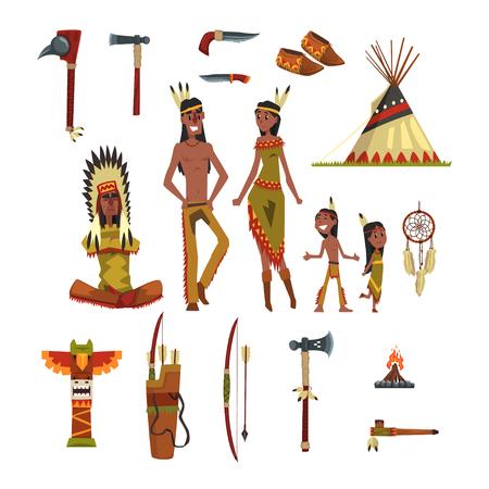 Indios nativos americanos y conjunto de ropa tradicional, armas y símbolos culturales vector ilustraciones Ilustración de vector