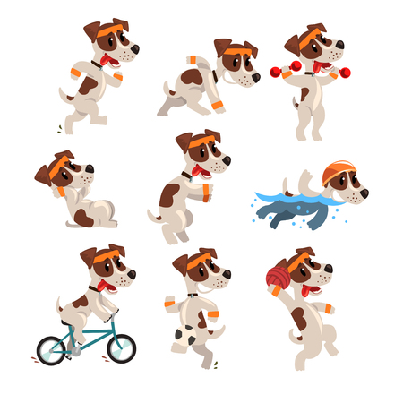 Cute sportive jack russell terrier set, funny pet dog character doing various kinds of sports vector Illustrations Illustration