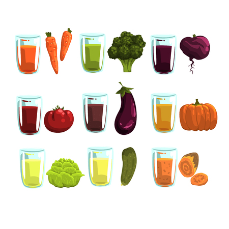 Vegetable juices set, carrot, broccoli, , eggplant, zucchini, tomato, cucumber, beetroot and pumpkin drinks for a healthy diet vector Illustrations on a white background