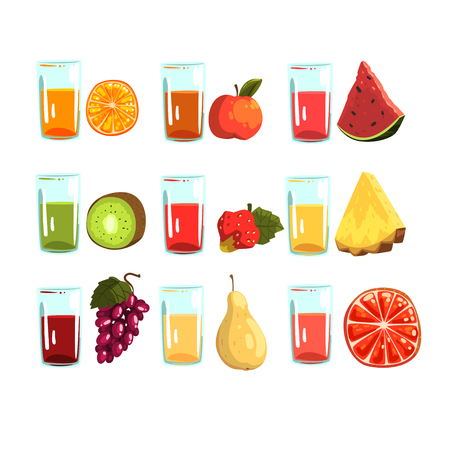 Fruit juices set, orange, apple, watermelon, kiwi. strawberries, pineapple, grapes , pear, grapefruit drinks for a healthy diet vector Illustrations isolated on a white background