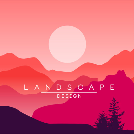 Beautiful peaceful mountain landscape, red and pink mountain ranges at sunset, nature background for banner, flyer, poster and cover, vector ilustration, web design Illustration