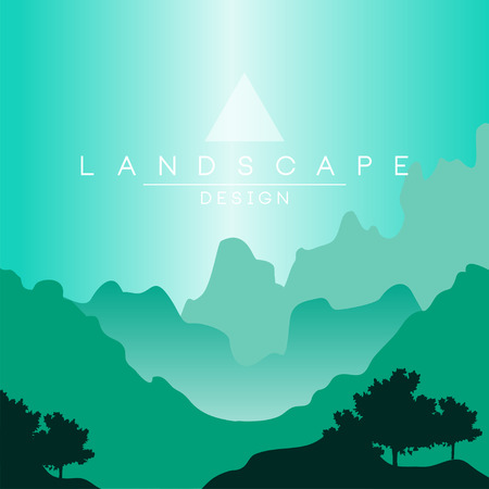 Beautiful peaceful mountainous terrain at day time, nature background for banner, flyer, poster and cover, vector ilustration