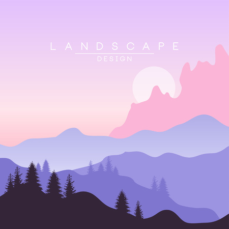 Beautiful peaceful natural landscape, mountainous terrain background for banner, flyer, poster and cover, vector ilustration, web design