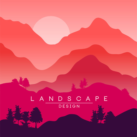 Beautiful peaceful landscape, red and pink mountain ranges at sunset, nature background for banner, flyer, poster and cover, vector ilustration, web design