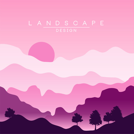 Beautiful peaceful landscape, purple mountain ranges at sunset, nature background for banner, flyer, poster and cover, vector ilustration Stock Vector - 96154680