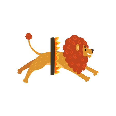 Cute circus lion cartoon character jumping through a ring of fire vector Illustration on a white background