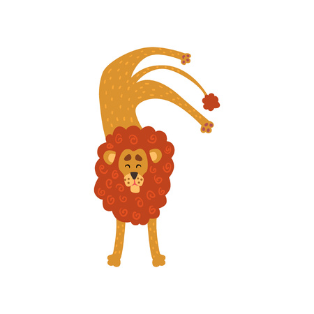 Cute lion cartoon character standing upside down vector Illustration on a white background Illustration