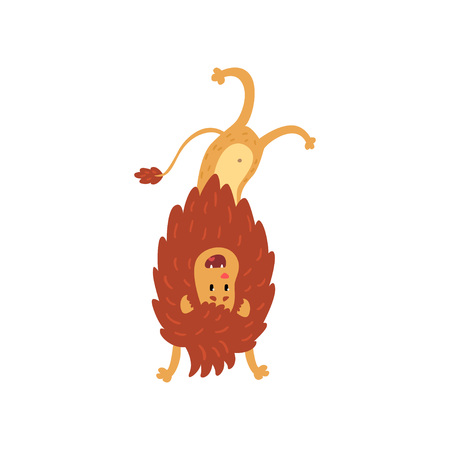 Cute lion cub cartoon character standing upside down vector Illustration on a white background