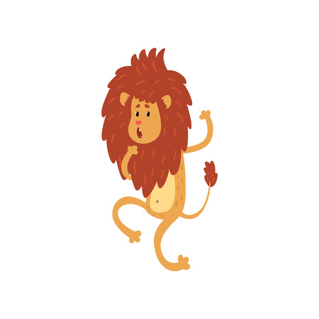Cute funny lion cub cartoon character walking on two legs vector Illustration on a white background